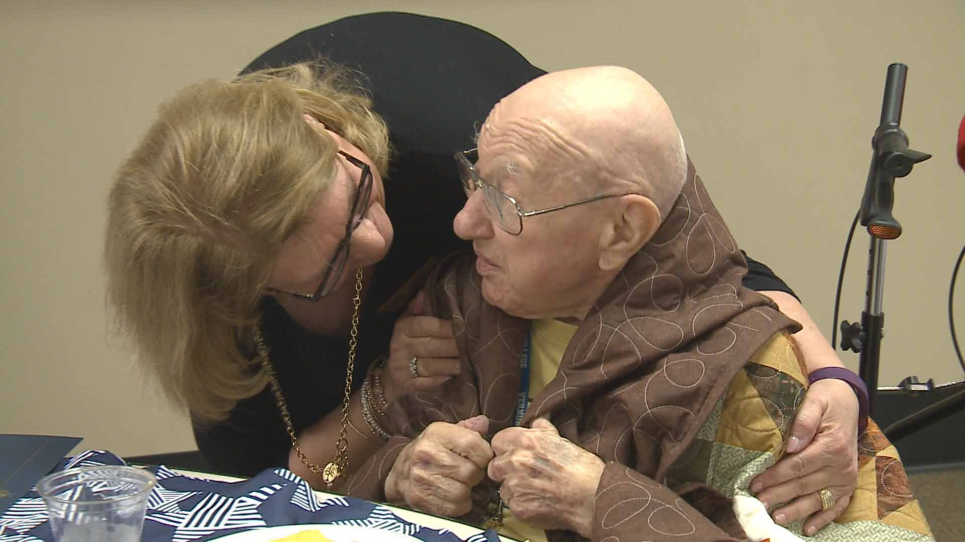 A quilt being presented to one of the veterans. Credit: KMOV