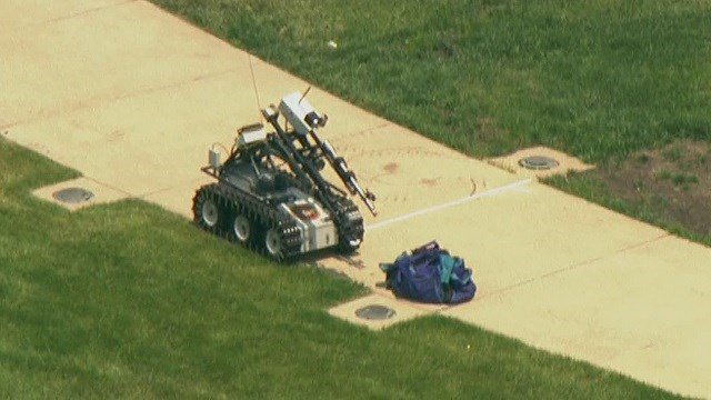 """At a whopping 1,000 pounds, the """"Wolverine"""" is the largest and newest of the unit's robots. (Credit: KMOV)"""