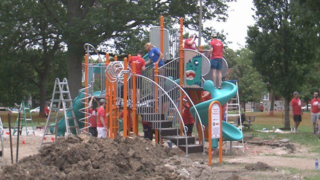 Neighbors and community members in the Gravois Park neighborhood can now enjoy a brand new playground, it was built all in just a matter of hours! (Credit: KMOV)