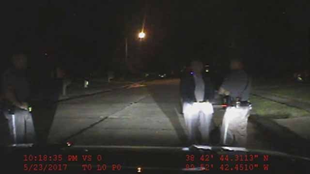 Dash cam footage of the arrest of former US Attorney Steve Wigginton in Troy, Illinois. Credit: Troy PD