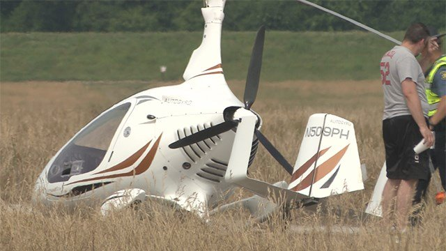 A gyrocopter crashed near Spirit of St. Louis Airport in Chesterfield on Sunday morning.(Credit: KMOV)