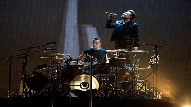 Bono and Larry Mullen Jr. of U2 perform at the Rose Bowl during The Joshua Tree tour on Sunday, May 21, 2017 in Pasadena, Calif. (Photo by Jordan Strauss/Invision/AP)
