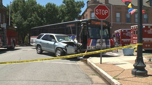 Emergency crews are on the scene of an accident involving a Metro bus in south St. Louis Tuesday. (Credit: KMOV)
