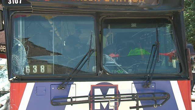 A suspect crashed into a Metro bus with five passengers on board. (Credit:KMOV)