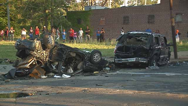 3 children were injured in a crash that came at the end of a chase that started in St. Ann and ended in North City. Credit: KMOV