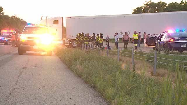 A car ran under a semi in an accident on I-55/70 in the Metro East Wednesday. Credit: KMOV