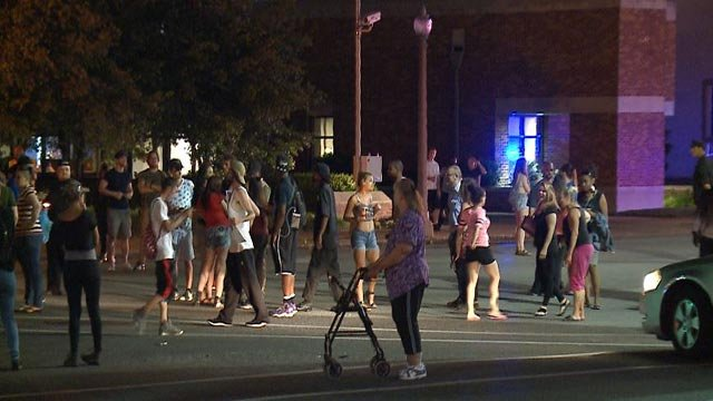Protesters in South City Wednesday night (Credit: KMOV)