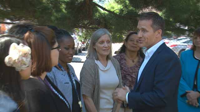 Mo. Gov Eric Greitens visited Our Lady's Inn, a pregnancy center in south St. Louis on Thursday. Credit: KMOV