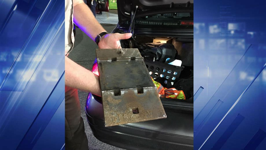 """BNSF Railway spokesman Andy Williams said the steel plate was a """"tie plate"""" that's used to hold tracks to railroad ties. (Credit: KMOV)"""