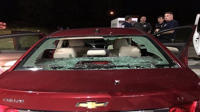 Mindy Damica vehicle after the tie plate fall onto her vehicle with her 12-week old daughter inside. (Credit: KMOV)