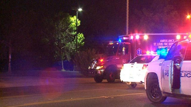Emergency vehicles on Natural Bridge after a man was hit by a vehicle (Credit: KMOV)