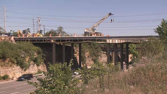 Work on the Big Bend Bridge over I-270. Credit: KMOV