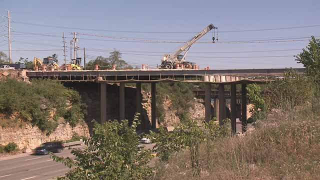 Work on the Big Bend Bridge over I-270. Credit: KMOV