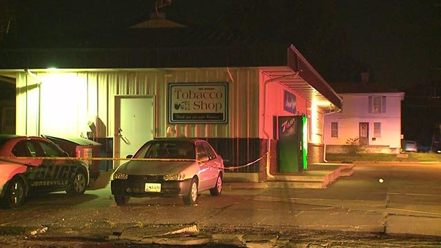 Scene of police investigation after an officer-involved shooting in Jerseyville Tuesday (Credit: KMOV)