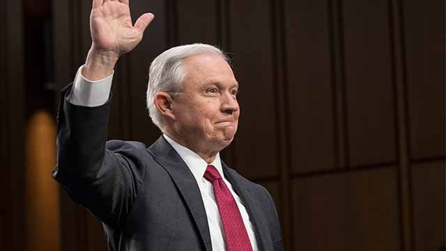 Attorney General Jeff Sessions is sworn-in on Capitol Hill in Washington, Tuesday, June 13, 2017, prior to testifying before the Senate. (AP Photo/J. Scott Applewhite)