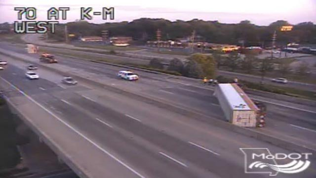A semi-truck overturned on WB I-70 near Highway K Wednesday morning (Credit: MoDOT)