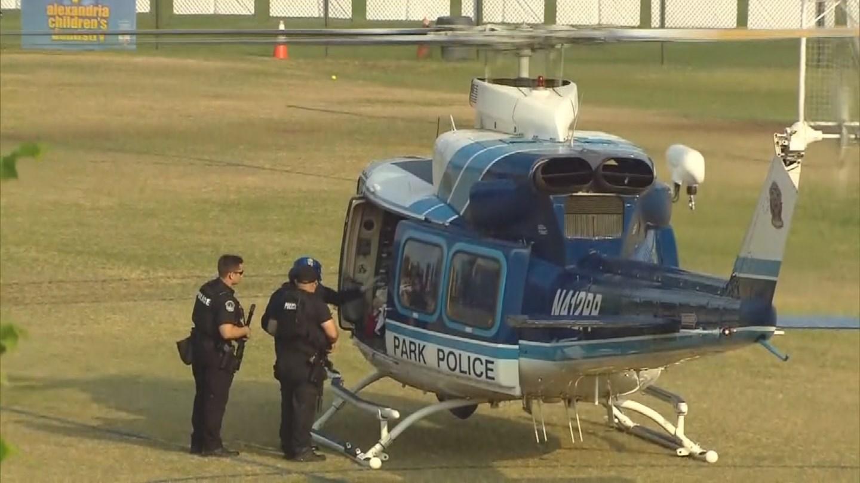 Emergency crews at Virginia baseball field (Credit: CBS News)