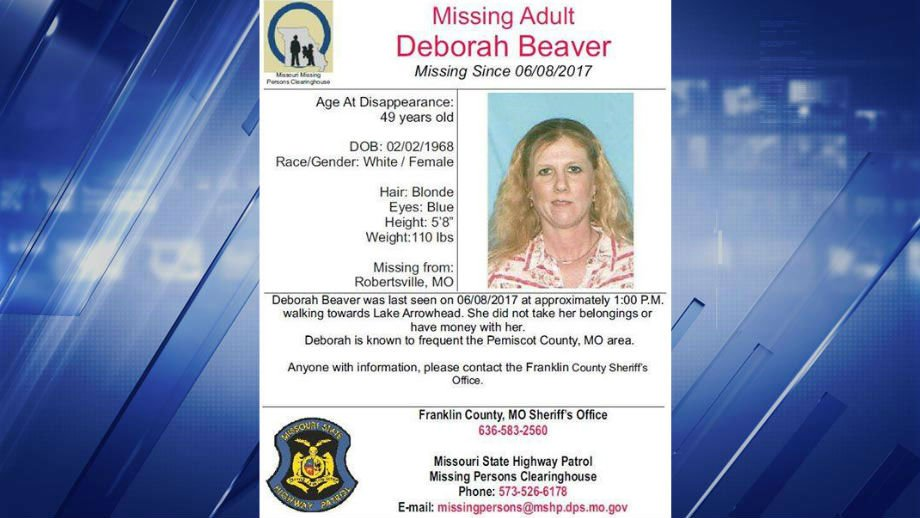 "Deborah Beaver, 49, of Robertsville, Mo. is described as standing at 5' 8"", weighing 110 pounds with blonde hair and blue eyes. (Credit: Franklin Country Police)"