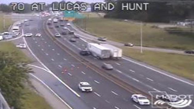 Emergency crews closed EB I-70 at Lucas & Hunt Thursday (Credit: KMOV)