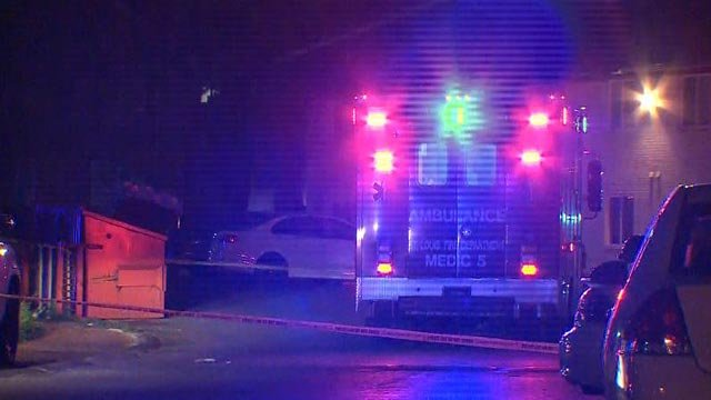 Ambulance at the scene of a shooting at Goodfellow & Selber Court Friday (Credit: KMOV)