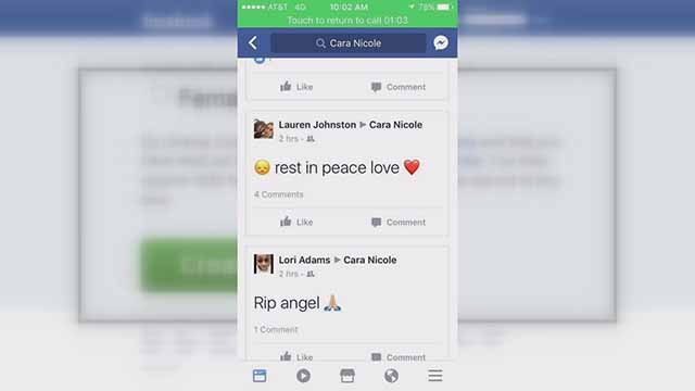 Fake Facebook pages were created that indicated Cara Chilton had died. She is still alive. Credit: KMOV