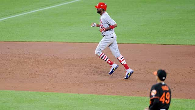 Dexter Fowler #25 of the St. Louis Cardinals rounds the bases after hitting a home run in the sixth inning against the Baltimore Orioles at Oriole Park at Camden Yards on June 16, 2017 in Baltimore. St. Louis won 11-2. (Photo by Greg Fiume/Getty Images)