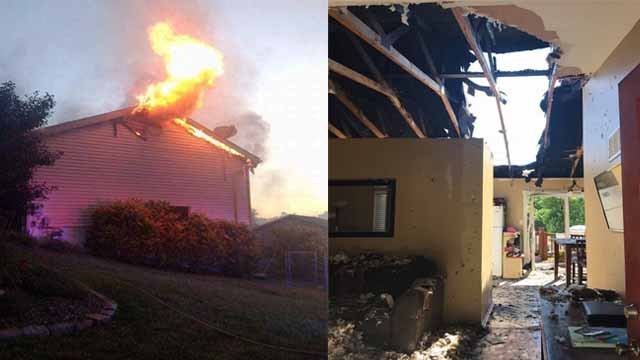 Neighbors allowed a father and son to escape an early morning house fire in High Ridge Monday. Credit: Michael Murphy