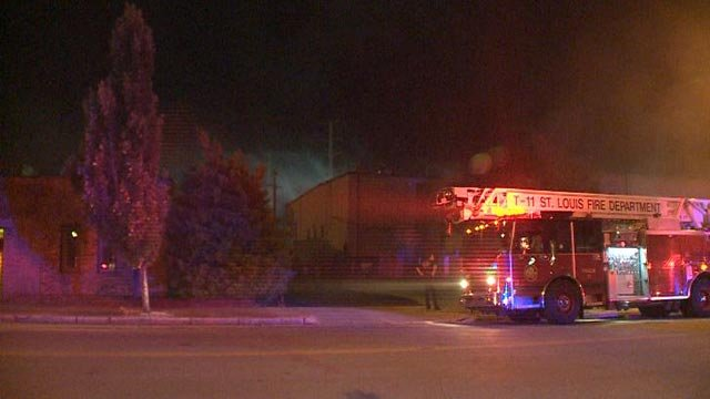 Fire crews at the Faultless Linen Co. Wednesday morning (Credit: KMOV)