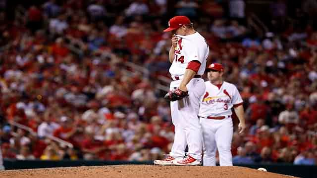 St. Louis Cardinals relief pitcher Trevor Rosenthal pauses after giving up an RBI single to Pittsburgh Pirates' David Freese during the eighth inning of a baseball game Friday, June 23, 2017, in St. Louis. (AP Photo/Jeff Roberson)