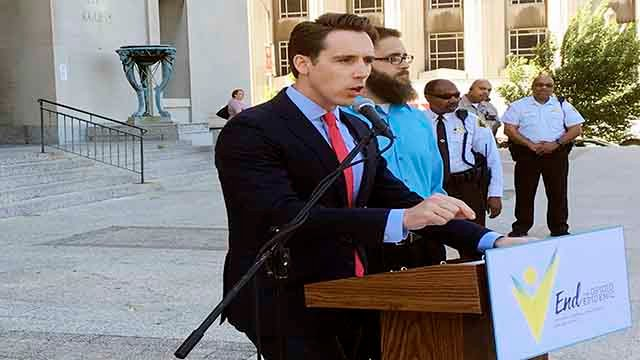 Missouri Attorney General Josh Hawley speaks at a news conference in St. Louis. (AP Photo/Jim Salter File)