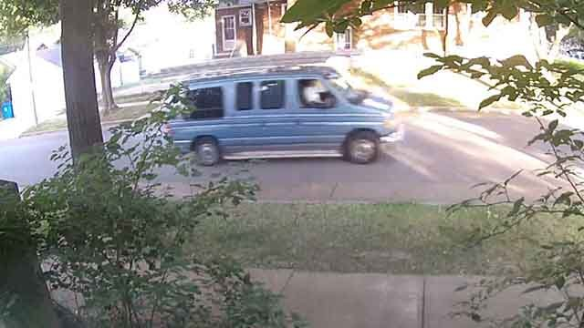 Neighbors suspect that this blue van may be connected to the damage done to a family's roof in South St. Louis