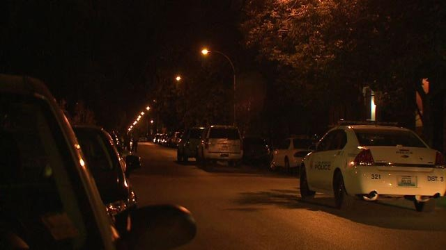 Police car in the 3600 block of Arkansas Monday night (Credit: KMOV)