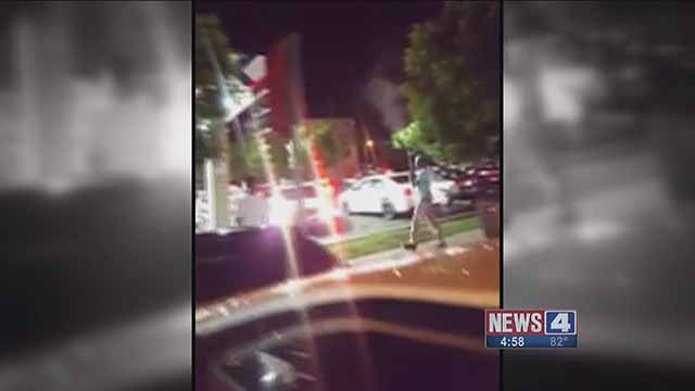 A man was caught on camera firing shots into the air at the  ZX gas station at Chouteau and 4th Street in downtown St. Louis. Credit: KMOV