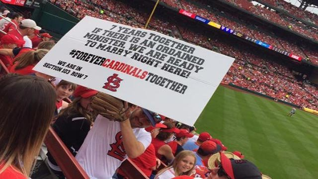 Sign Tyson & Alyssa Baker held up during Cardinal's game (Credit: Donna Shores O'Day)