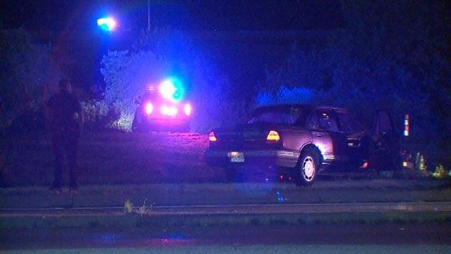 Officers on the scene after the stolen car crashed (Credit: KMOV)