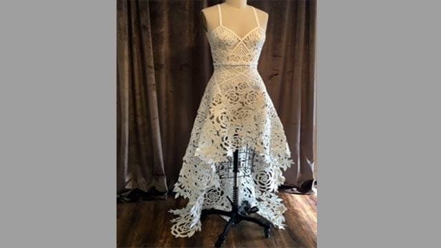Ashley Ulicni's toilet paper wedding dress (Credit: tpdresscontest.com)