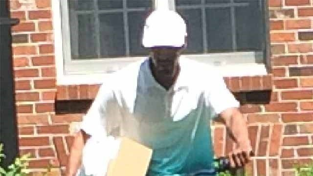 The Clayton Police Department is asking for the public's help with identifying a man who tried a steal a package off the porch of a house in Clayton. (Credit: Clayton Police Department)
