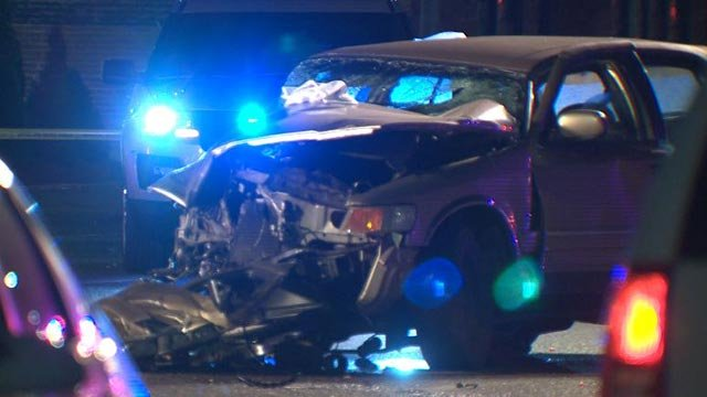 The vehicle that was hit by the carjacked truck in north St. Louis (Credit: KMOV)