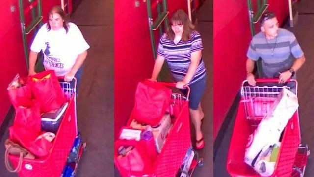 Two female suspects are seen leaving the Target store. The male suspect (right) is seen leaving the same store in a separate incident. (Photo credit: Chesterfield Police Department)