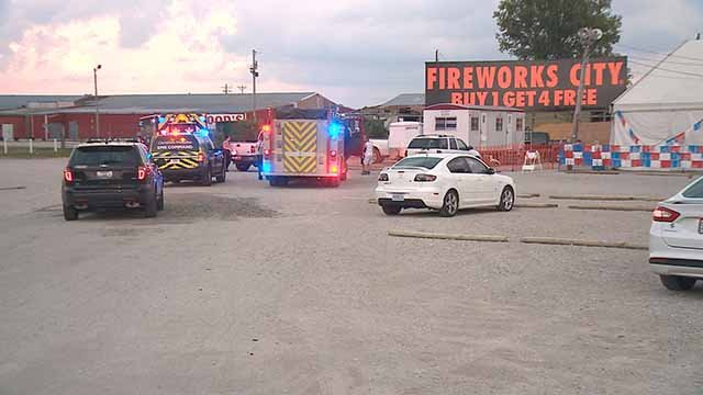 Several suspects robbed a fireworks business in West Alton Thursday evening. Police said they got away in a car with several children inside. Credit: KMOV