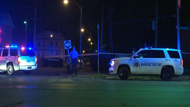Police on North Grand at Penrose following a fatal overnight shooting (Credit: KMOV)