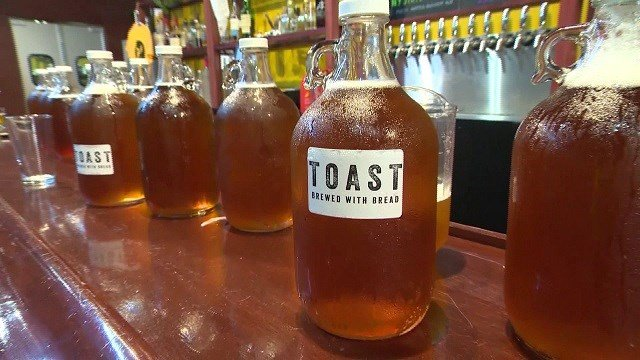 The company is called Toast Ale USA, and the leftover bread they use comes from bakeries and grocery stores. (Credit: CBS News)