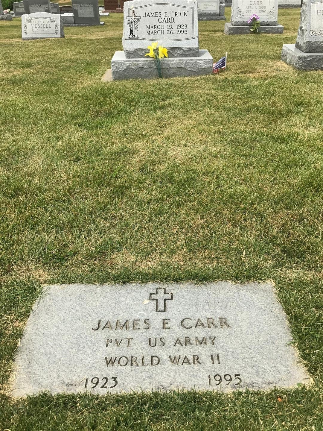 "The grave of James ""Rick"" Carr at Sacred Heart Cemetery in Crystal City."
