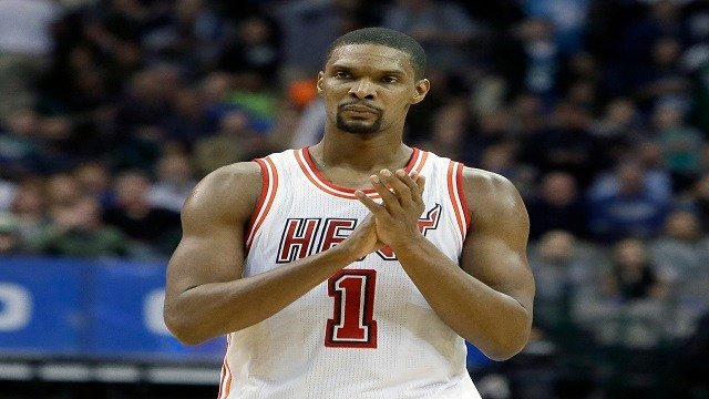 In this Feb. 3, 2016, file photo, Miami Heat forward Chris Bosh (1) reacts to a call during the second half of an NBA basketball game against the Dallas Mavericks, in Dallas. (Credit: AP Photo/LM Otero, File)