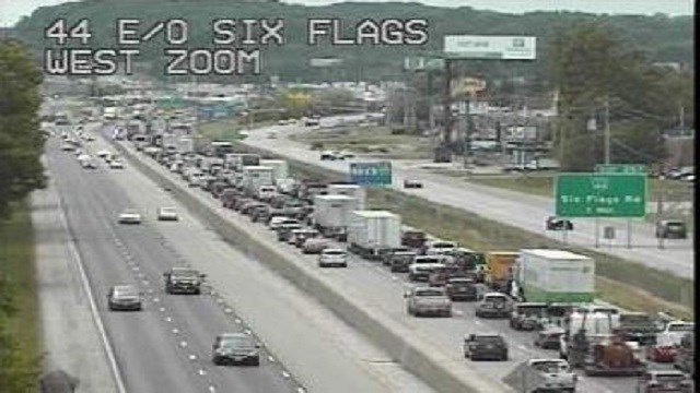 Interstate 44 is now closed between Westbound 44 near Six Flags due to a serious crash.  (Credit: MODOT)