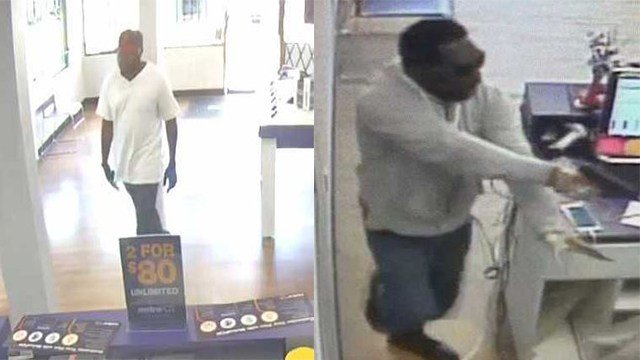Police searching for suspected robbers in connection with Metro PCS theft. (Credit: St. Louis Metropolitan Police Department)