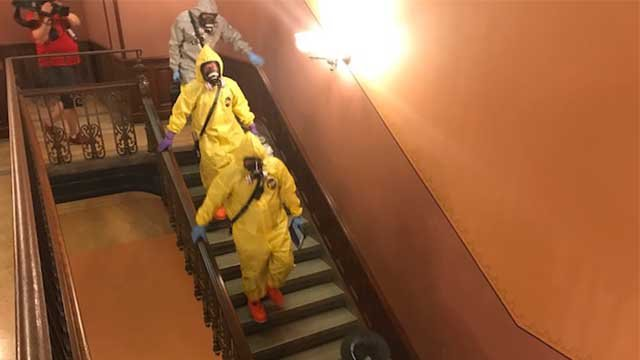 Hazmat crews inside the Illinois Capitol in Springfield, Illinois Thursday (Ray Preston, KMOV)