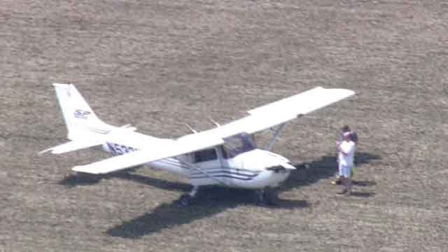 An engine failure forced this plane to make an emergency landing in a field near Augusta on Friday, July 7, 2017 (Credit: KMOV)