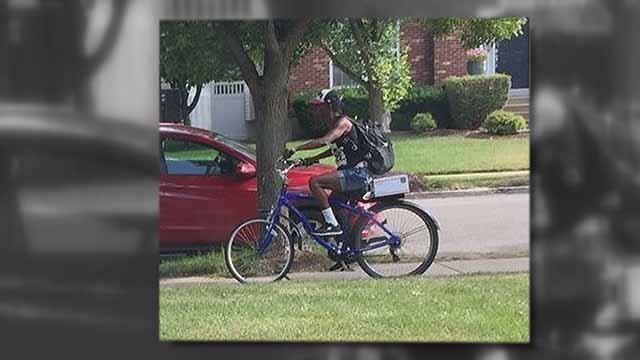 On the back of this bike is a package stolen from the porch of a bishop. Credit: KMOV
