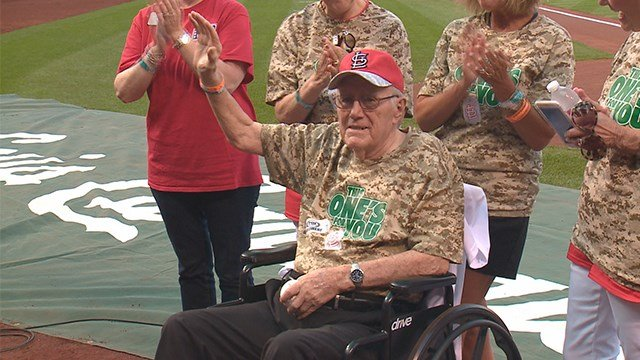 WWII veteran, 99, throws out the first pitch at Busch Stadium on Friday. (Credit: KMOV)